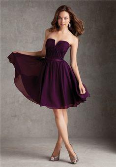 Definitely short dresses in this darker plum shade. Same or similar fabric. :)