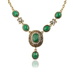 Gorgeous Gold Plated 2 Color Red Green Resin Choker Pendant & Necklaces