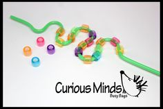 This is a simple but fun little toddler fine motor busy bag learning toy. You get one plastic bendy straw and an assortment of large-hole beads. Kids simply practice their fine motor skills by lacing Preschool Learning, Early Learning, In Kindergarten, Toddler Activities, Preschool Activities, Teaching, Stem Learning, Learning Resources, Toddler Busy Bags