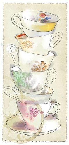 Bridal high tea invitation illustration