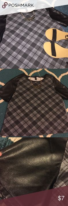 Pleather/ plaid top Plaid/pleather top. Size medium. Excellent used condition. Tops Blouses