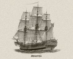 """Drawing of the convict transportation ship """"Neptune"""" that operated between England and Australia in Van Diemen's Land, First Fleet, Jackson, Vintage Boats, Nautical Art, Tall Ships, Vintage Images, Sailing Ships, Transportation"""