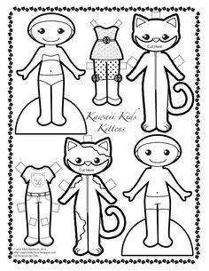 KAWAII KIDS Kittens  by Julie Matthews from Paper Doll School