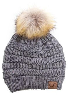 C.C. Beanies are a must have! this gorgeous beanie in grey features a classic knit style and a fluffy ball on top! Grey Knit Beanie by C.C Beanie. Accessories - Hats Minneapolis, Minnesota