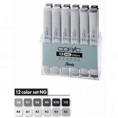 Набор маркеров COPIC NEUTRAL GRAY серые цвета 12шт., пластиковая уп-ка от COPIC Markers по 6 150.00 руб