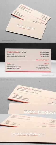 Day Legal Cotton Letterpress Business Card - Business Cards on Creattica: Your source for design inspiration