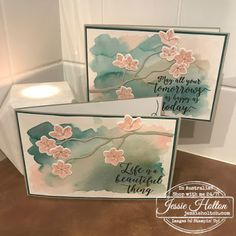 handmade greeting card by Jessie Holton ... watercolor wash bacdground ... die cut branch with cherry blossoms ... Stampin' Up!