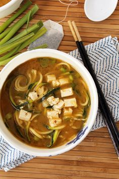 Pin for Later: 50 Recipes That Start in the Tea Aisle Miso, Green Tea, and Ginger Soup With Zucchini Noodles and Tofu Get the recipe: miso, green tea, and ginger soup with zucchini noodles and tofu
