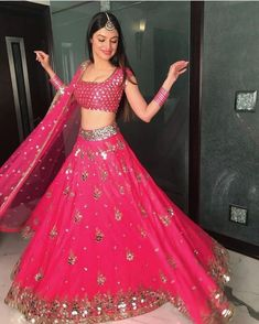Stunning pink lehenga with Mirror work Indian Gowns Dresses, Indian Fashion Dresses, Dress Indian Style, Indian Designer Outfits, Bridal Dresses, Modest Fashion, Indian Bridal Lehenga, Indian Bridal Outfits, Designer Bridal Lehenga