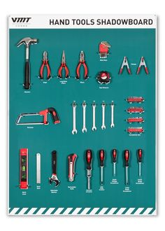 Shadow Boards help enable missing tools and equipment to be spotted in seconds and are essential for providing effective workplace organisation and control. Workshop Storage, Workshop Organization, Tool Storage, Lean Kanban, Visual Management, Lean Manufacturing, Basic Hand Tools, Kaizen, Air Tools