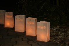 20 Personalized Wedding Candle Luminaries White by awilddesign, $28.00