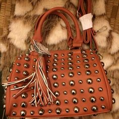 (Reserved) Studded Alyssa bag with strap extension Special price!  Chocolate or that light pink/peach/mauve color?  $50 each. Alyssa Bags Satchels