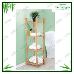 4-tiers decorative woodenbambo storage rack