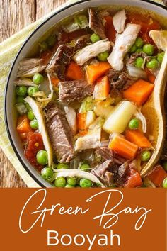 """If you've never """"Booyahed"""" (been to a Booyah), then you're definitely missing out. Give this rich-flavored stew recipe a try; with chicken, pork, and beef all in one soup, it's hearty and oh-so-delicious!    #booyah #booyahsoup #booyahrecipe #greenbaybooyah #thewickednoodle"""