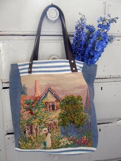 Artisans Shoulder bag, Quirky. tapestry, Garden vintage, picnics, allotments, shopping