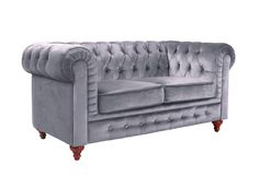 AmazonSmile: Classic Scroll Arm Chesterfield Style Loveseat with Tufted (Red): Kitchen & Dining