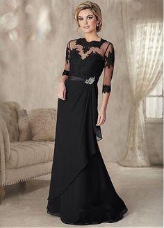 Impresionante gasa joya cuello de la envoltura madre de la novia #blackfriday vestido con apliques de encaje