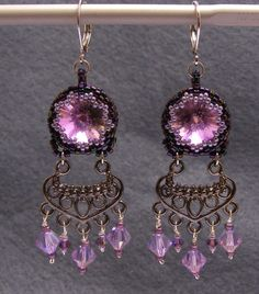 Chandelier Earrings – Violet purple crystal chandelier earrings – a unique product by DarkEyedJewels on DaWanda Etsy Earrings, Beaded Earrings, Drop Earrings, Handmade Jewellery, Chandelier Earrings, Crystals, Purple, Unique, Jewelry