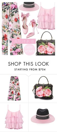 """""""PINK....."""" by shoaleh-nia ❤ liked on Polyvore featuring Dolce&Gabbana, Pierre Balmain and Maison Michel"""