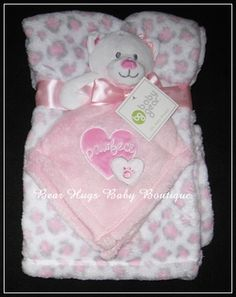 Pink Kitty Cat Lovey and Leopard Print Baby Blanket Gift Set. #leopard #cat #pink #gift