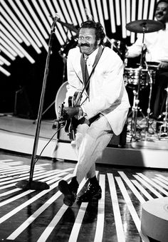 """Chuck Berry was one of the most popular and influential performers of rhythm-and-blues and rock 'n' roll music during the and He's known for songs like """"Johnny B. Rock Roll, Rock N Roll Music, Soul Artists, Music Artists, Blues Artists, Hollywood, Concert Posters, Movie Posters, Motown"""