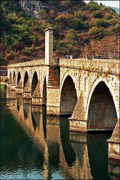 UNESCO Worldl Heritage Site.                                Mehmed Pasa Socolovic Bridge over Drina River, Visegrad, HUNGARY