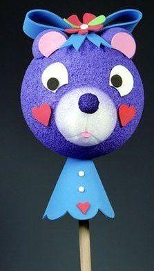 Styrofoam Bear Stick Puppet Craft Idea For Kids