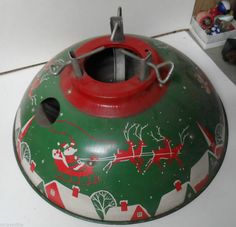Very Nice Old Metal Litho Christmas Tree Stand SANTA REINDEER FLY OVER ROOFTOPS