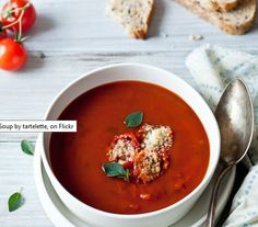 Winter Vegetable Soup Recipes - Roasted Tomato Soup and Toasted Parmesan Croutons - Click Pic for 22 Healthy Soup Recipes for Winter