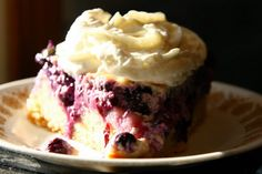 """Sour Cream Blueberry Cake! 4.89 stars, 10 reviews. """"Everyone should try this. It's awesome."""" @allthecooks #recipe #cake #dessert #easy"""
