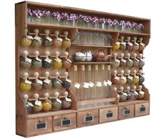"dyed 40 bubbles Spice rack wood ""the small grocery store bubbles of spices"" - Wasserfarbentätowierungen Wood Spice Rack, Spice Shelf, Kitchen Wall Storage, Kitchen Decor, Spices Packaging, Blue Shelves, Small Glass Jars, Spice Bottles, Home Bar Designs"