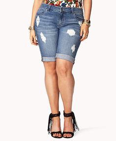 Forever 21+ - A pair of destroyed bermuda shorts featuring cuffed leg openings. Zip fly with button closure. Five-pocket construction with button closures at the back.