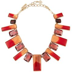 Oscar De La Renta Two-Tone Resin & Crystal Bib Necklace ($356) ❤ liked on Polyvore featuring jewelry, necklaces, oscar de la renta, berry, cabochon necklace, two tone chain necklace, resin chain necklace, chains jewelry and resin jewelry