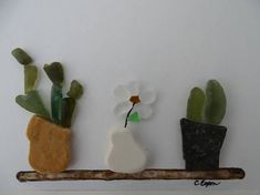 Sea glass plants on a shelf