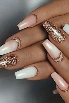 Color Street - Only in Vegas & Coming Up Rose Gold - TOUGH AS NAILS - You are in the right place about chrome Nail Here we offer you the most beautiful pictures about t - Gold Acrylic Nails, Rose Gold Nails, Pink Nails, Gel Nails, Gold Tip Nails, Holiday Acrylic Nails, Blush Nails, Manicures, Coffin Nails