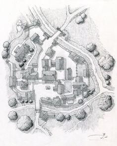 Pencil on x 10 inch Moleskin sketchbook Map drawing of a small village called Bourmout in Ivonest, on the world of Luma. Village of Bourmout [uncolored] Fantasy Map Making, Fantasy City Map, Fantasy Town, Fantasy Places, Fantasy Rpg, Medieval Fantasy, Fantasy Village, Village Map, Rpg Map