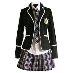 Designer Clothes, Shoes & Bags for Women School Uniform Outfits, Cute School Uniforms, School Dresses, Japanese Fashion, Korean Fashion, Kpop Outfits, Fashion Outfits, Mode Grunge, Kawaii Clothes