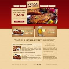 No restaurant should have to put up with websites any less mouthwatering than the food they serve. Whether you're serving steak, pizza or pasta, this. Sample Website Design, Design Your Own Website, Free Html Website Templates, Restaurant Website Templates, Web Design, Food Menu, Buffet, Restaurant Restaurant, Steaks
