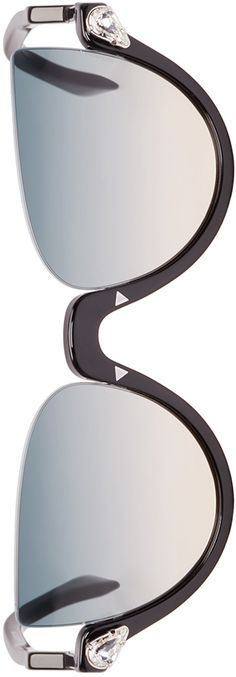Fendi - Black Crystal Half Cat-Eye Sunglasses