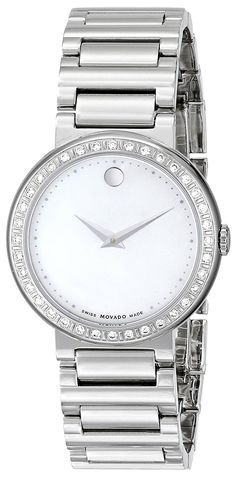 Movado Women's 0606421 'Concerto' Diamond-Accented Stainless Steel Watch -- You can find out more details at the link of the image.