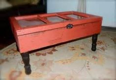 Image detail for -... Window Coffee Table with Storage, Upcycled, Repurposed, Barn Red