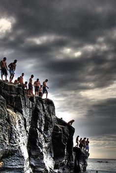 Island of Oahu, Waimea Bay cliff jumping. I feel so mind blowed that I've actually jumped off these cliffs myself.