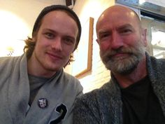 Graham McTavish and Sam Heughan out of costume, in Scotland