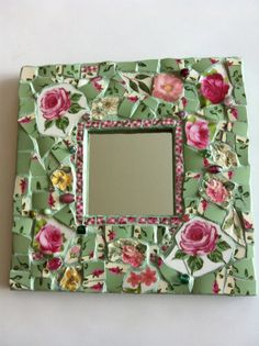 Shabby Chic Roses Mosaic Mirror by PalsCreations on Etsy, $40.00