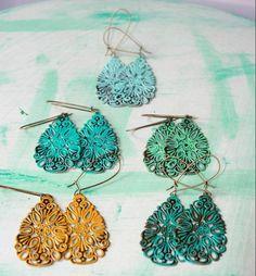 Handpainted Filigree Earrings - 2 Designs - As Low as $4.99 Per Pair!
