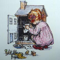 Dolls' house Illustration by Shirley Hughes Vintage Artwork, Vintage Children's Books, Shirley Hughes, Vintage Dollhouse, Children's Book Illustration, Book Illustrations, Antique Photos, Penny Black, Home Art