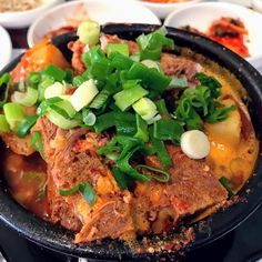 Kamja Tang (Spicy Pork Neck Stew) From here Lunch Menu, Salsa Verde, Small Plates, Red Peppers, Korean Food, Ratatouille, Gourmet Recipes, Stew, Tapas