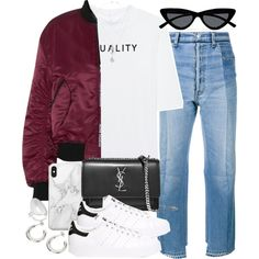 Sin título #4602 by hellomissapple on Polyvore featuring polyvore, fashion, style, Soufiane Ahaddach, Acne Studios, Vetements, adidas Originals, Yves Saint Laurent, Sophie Buhai and Lovebullets
