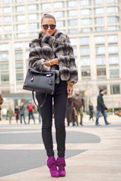 Street Style - custom-made coat, Burberry pants, Hèrmes bag, and Christian Louboutin shoes.
