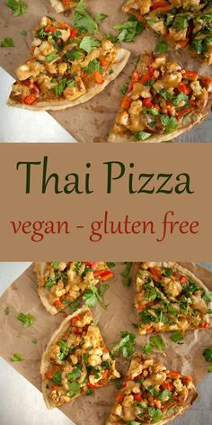 Thai Pizza - This vegan gluten free pizza has the flavors of Thai spring rolls on a crispy pizza crust. Thai Pizza - This vegan gluten free pizza has the flavors of Thai spring rolls on a crispy pizza crust. Dairy Free Recipes, Raw Food Recipes, Vegan Gluten Free, Cooking Recipes, Healthy Recipes, Vegetarian Recipes Lactose Free, Lunch Recipes, Healthy Foods, Easy Thai Recipes